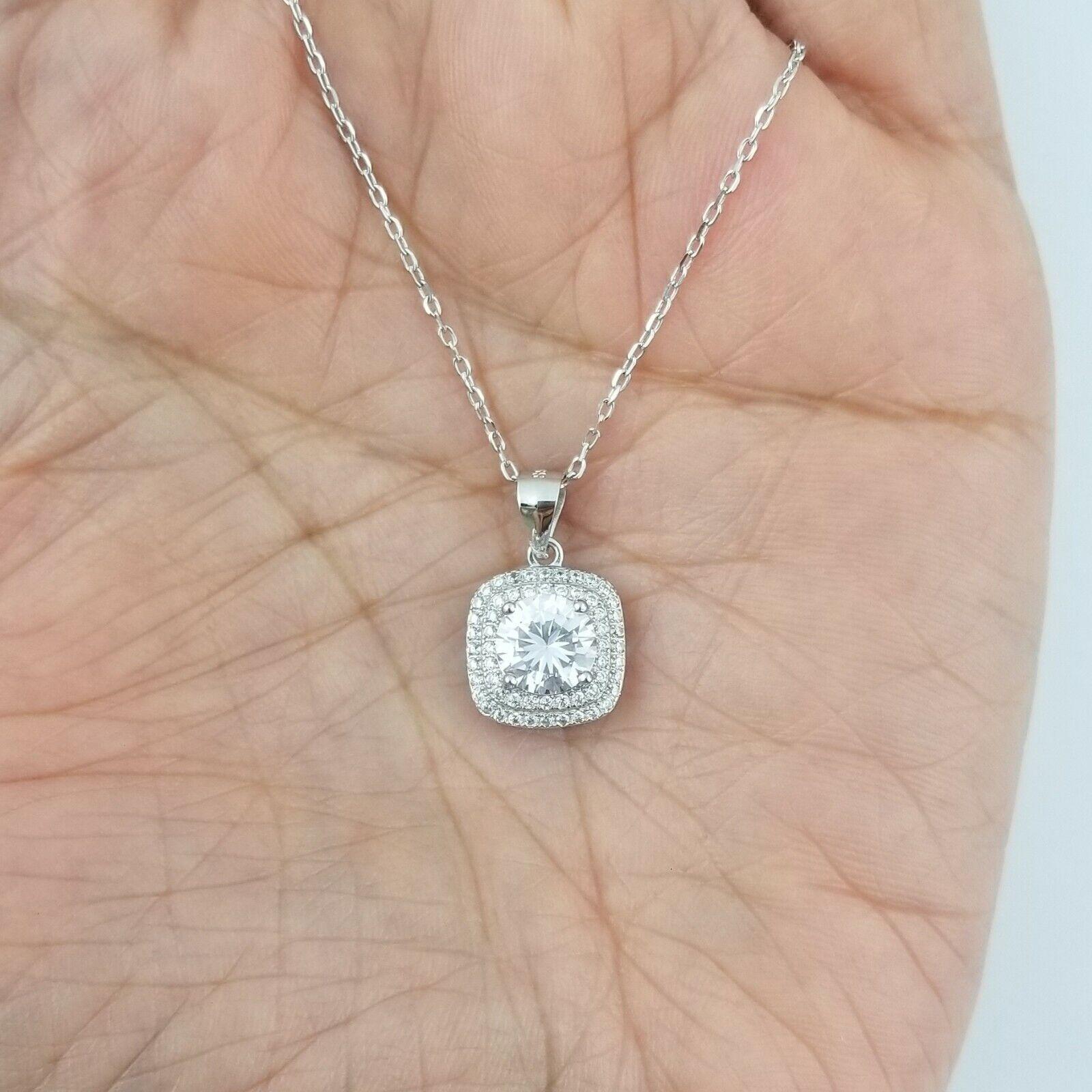 925 Sterling Silver Women Round Diamond Halo Pendant Necklace