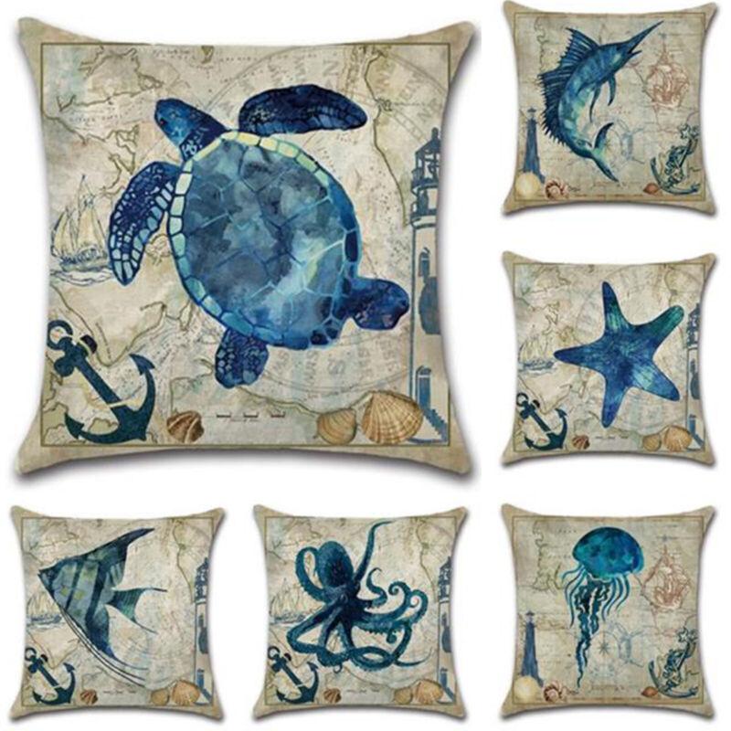 Retro Sea Animal Theme Pillow Case Sofa Waist Throw Cushion