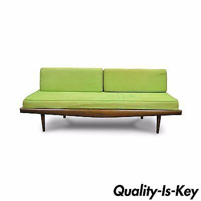"Vintage 73"" Mid Century Modern Walnut Wood Platform Daybed Sofa Danish Style"