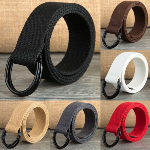 Unisex Casual Canvas Webbed Belt, Double Ring Metal Buckle, Large Size Available