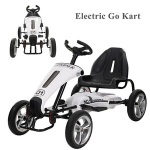 12v Electric Kids Ride On Car Go Kart Children Racing Toy Cart White