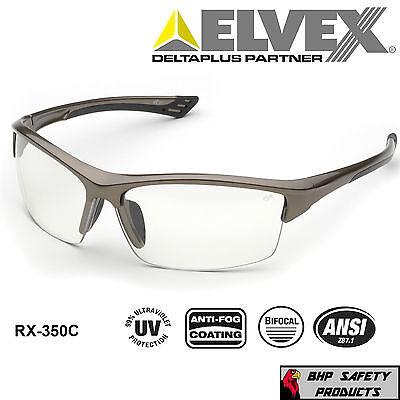 Elvex Sonoma Rx-350c Bifocal Reader Safety Glasses Clear Anti-fog Lens 1.0-3.0