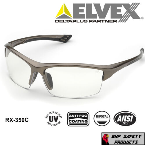 ELVEX SONOMA RX-350C BIFOCAL READER SAFETY GLASSES CLEAR ANTI-FOG LENS (1.0-3.0)