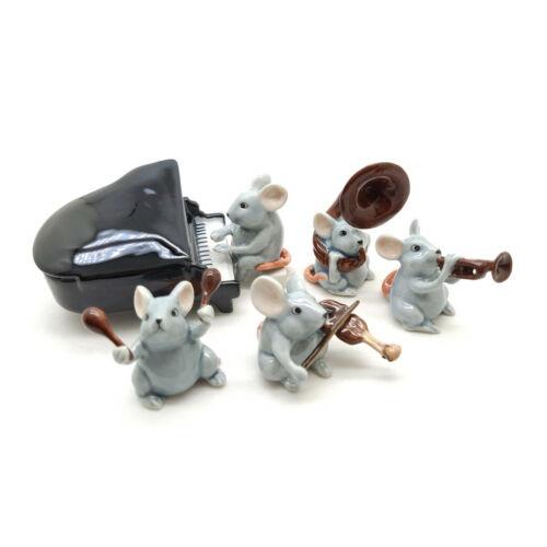 5 Rat Mouse Mice Figurine Ceramic Animal Statue Musical - FG091