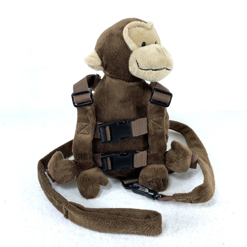 Eddie Bauer Monkey 2-1 Backpack Harness Safety Leash, Pouch, Plush, Brown Animal