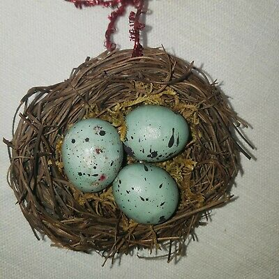 Robins Eggs In Nest Christmas Tree Ornament Realistic Gently Used Condition ()
