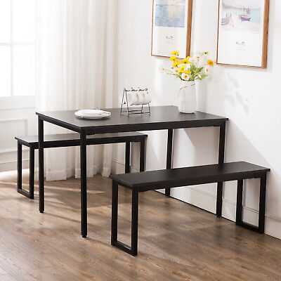 Wood 3 Piece Dining Table Sets 2 Bench Chair Rectangular Table Kitchen Furniture ()