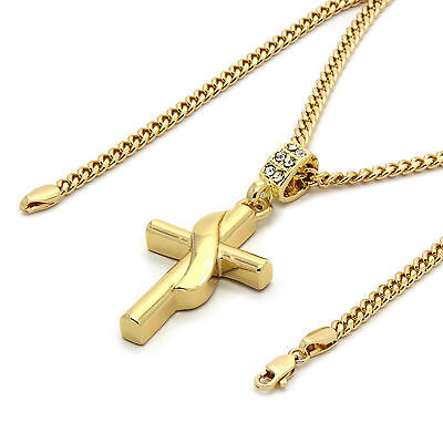 Mens 14k Gold Plated Banner Cross Pendant with 30