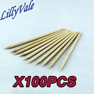 100Pcs Nail Art Orange Wood Sticks Cuticle Pusher Remover Pedicure Manicure Tool
