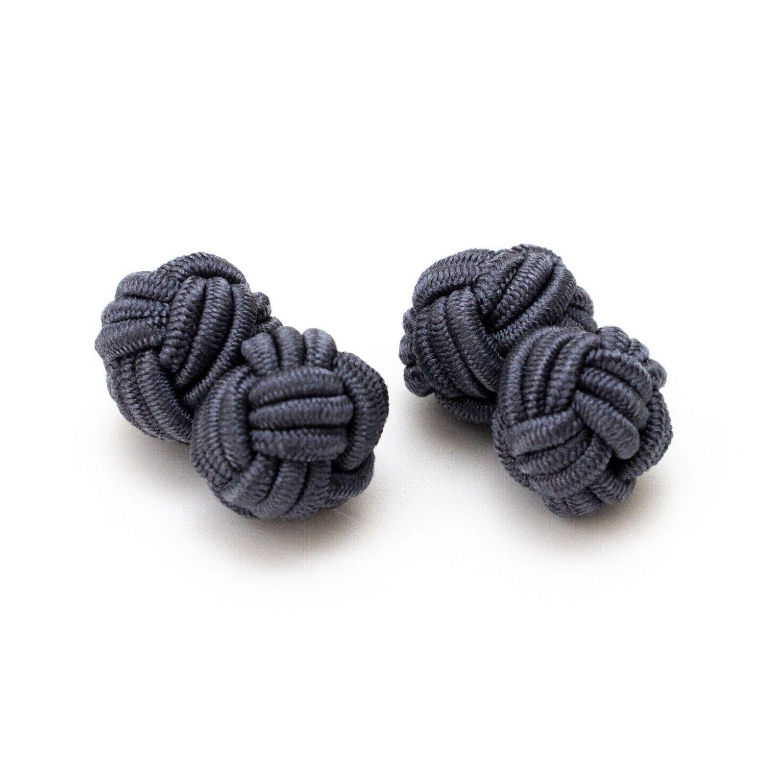 1 Paar Seidenknoten Manschettenknöpfe Knötchen grau Gentleman Stil edel