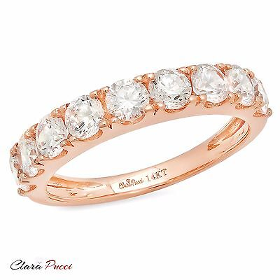 1.50ct pave Promise Bridal Wedding Engagement Band Ring Solid 14kt Rose Gold