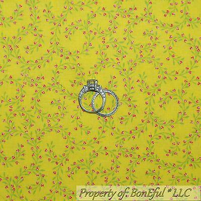 BonEful Fabric Cotton Quilt Yellow Pink Rose FLOWER Girl Calico Green Leaf SCRAP