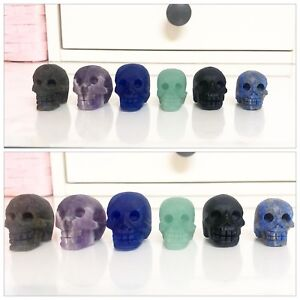6 Pieces Carved Quartz Crystal Mini Skulls Without Polishing ~
