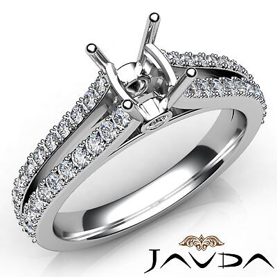 Genuine Cushion Diamond Engagement Semi Mount Setting Ring 18k White Gold 0.65Ct