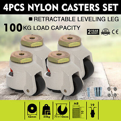 Set Of 4 Leveling Casters With 1-34 Hard Wheel Retractable Leg 12mm