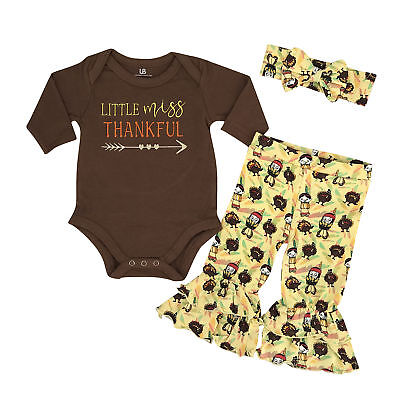 Girls Little Miss Thankful 1st Thanksgiving Outfit Boutique Toddler Kids Clothes