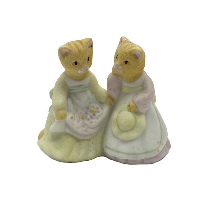 Vtg Yellow Striped Kittens Prairie Little House Dresses Aprons Bisque Figurine