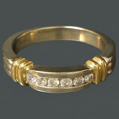 Solid 14K White & Yellow Gold Diamond Wedding Band