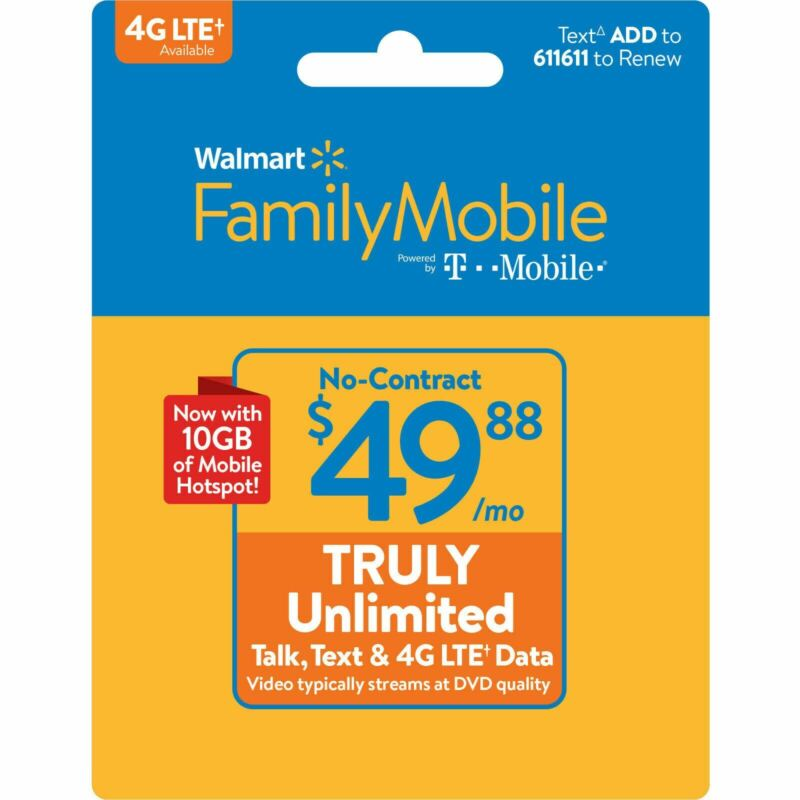 Walmart Family Mobile $49.88 Unlimited Monthly Plan & Mobile Hotspot #1 Top Up