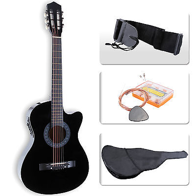 "38"" Cutaway Design Electric Acoustic Guitar with Guitar Case, Strap, Tuner Black"