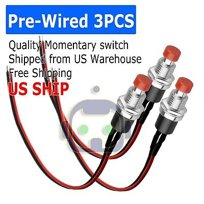 3 Pcs Red Micro Lockless Momentary Onoff Push Button 12v 5a Switch Tact