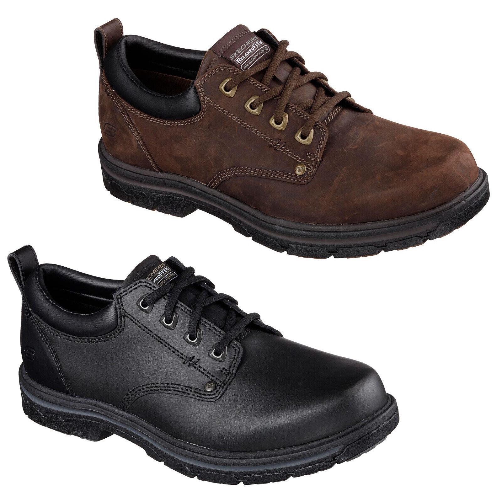 Detalles de Skechers Corte Holgado: Segmento Rilar Zapatos Cuero Hombre Encaje Oxford