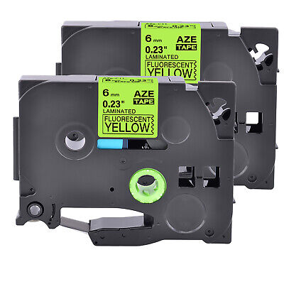 2pk Compatible For Brother P-touch Blackyellow Fluo Label Tape Tze Tz-c11 0.23