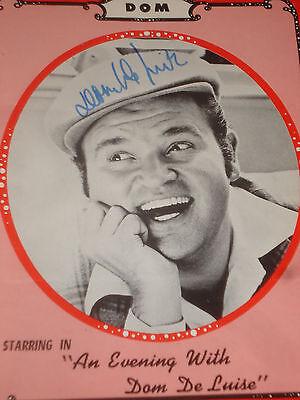 rare DOM DeLUISE Autographed program  Signed ORIGINAL Authentic One Man Show