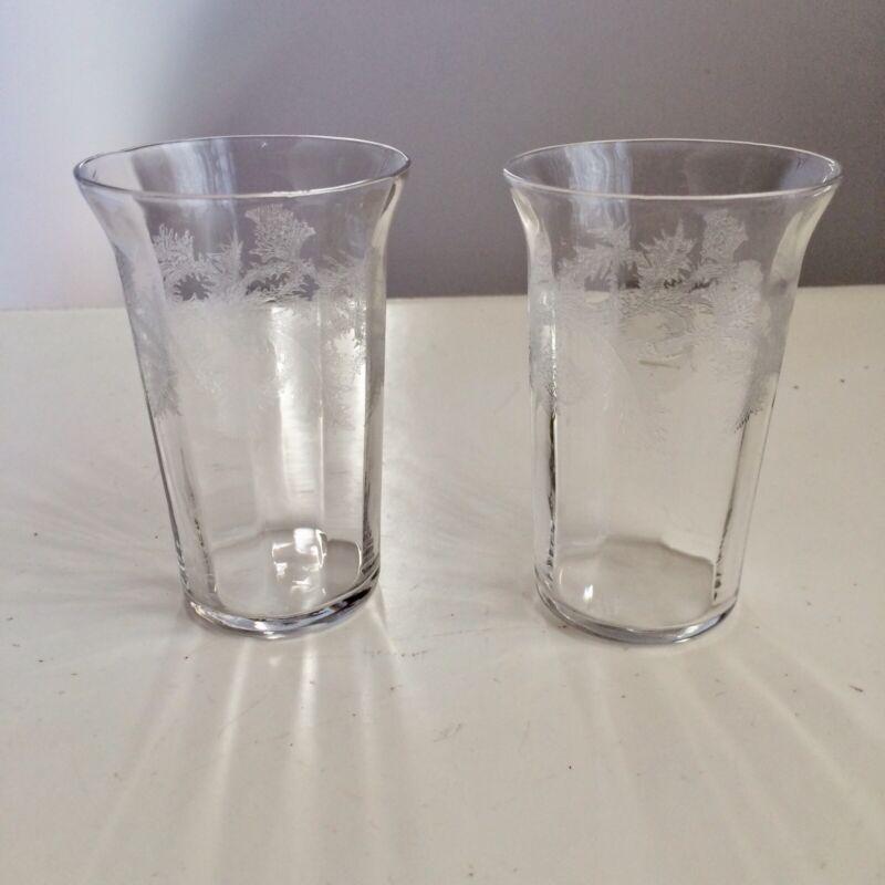 "Tiffin Special Thistle Glasses Tumblers 6 oz Etched 3 1/2"" 14197 Vintage Juice"
