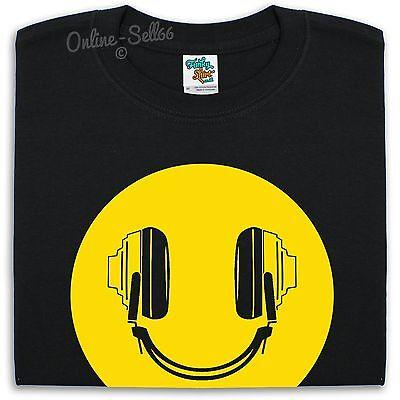 Dj Headphones Smiley T Shirt Men Women Kids Acid Rave Dance Ibiza Club