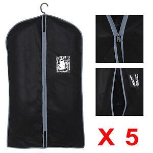 5x Set Of Blk Peva Black Breathable Garment Suit Dress Clothes Cover Travel Bags