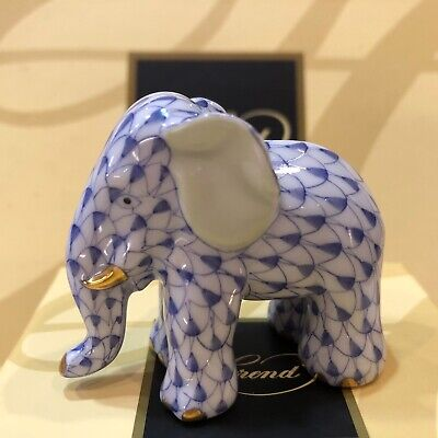 Herend- Miniature Elephant -  Navy Blue Fishnet New in Box