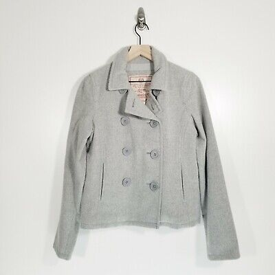 Abercrombie & Fitch Women's Size Medium Wool Blend Gray Pea Coat *READ*