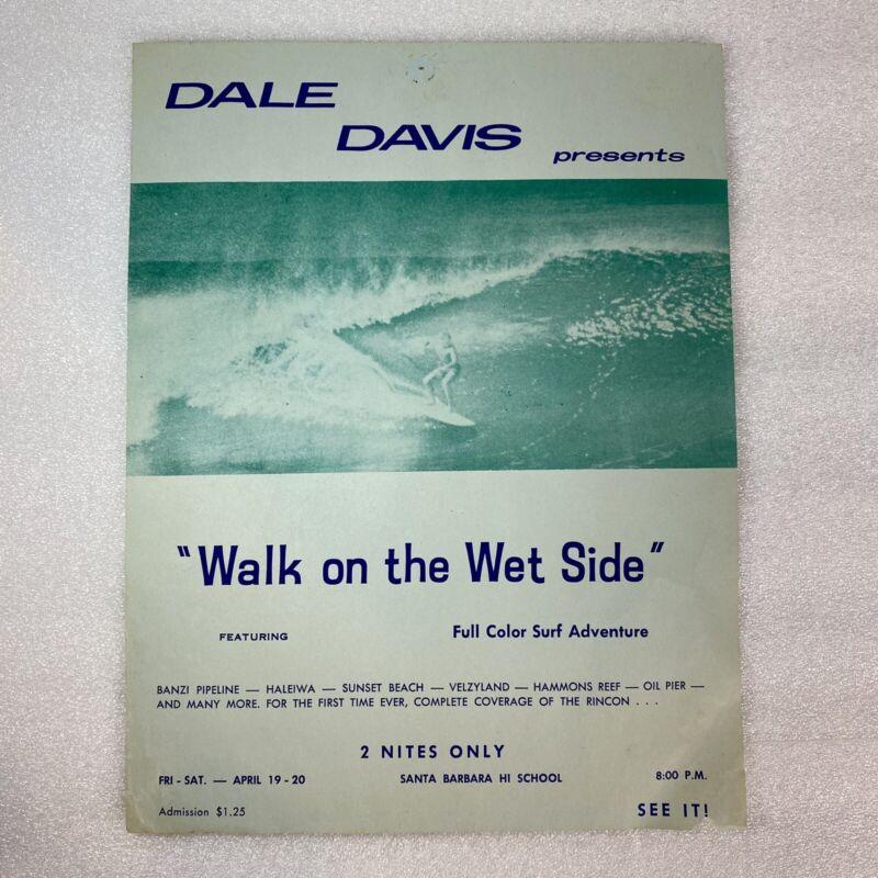 "Dale Davis Walk on the Wet Side Vintage Surf Movie 8 3/8"" x 10 15/16 Lithograph"