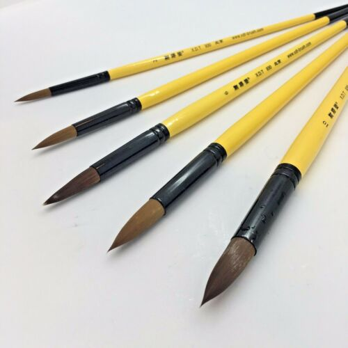 XDT#930 Mop Round Tip Artist Paint Art Brush 5pc PremiumNylon Acrylic Watercolor