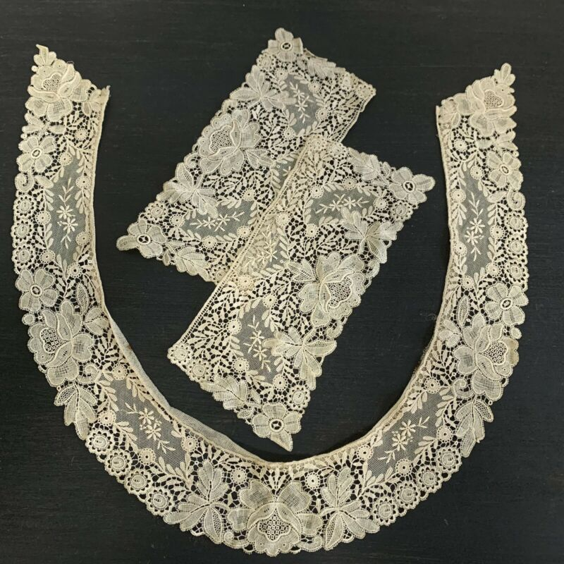 Antique 19th Century Needle Lace Collar And Cuffs