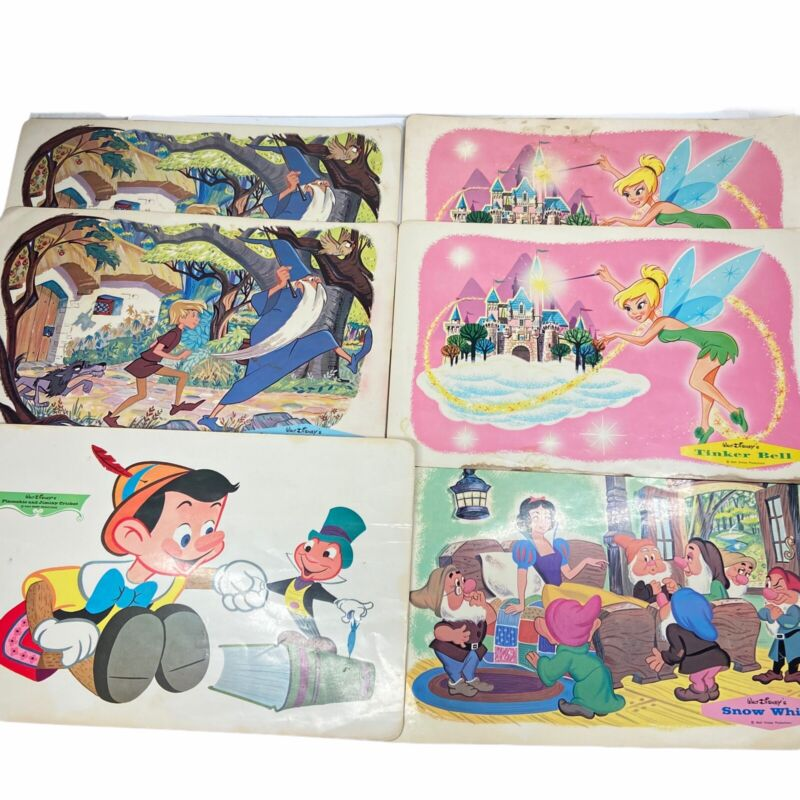 Vintage Disney Placemats 1960s Pinocchio Sword In The Stone Tinker bell Snow