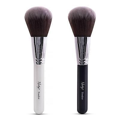 Weiße Make-up Pulver (Nanshy groß Pulver Gesicht Make-up Kosmetik Bürste Onyx schwarz/Perlglanz weiß)