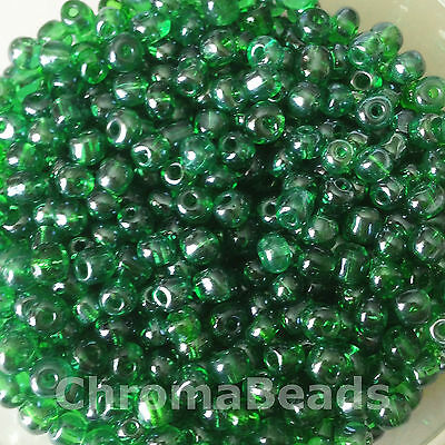 50g glass seed beads - Dark Green Transparent Lustered - approx 4mm (size 6/0)
