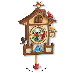 Colorful Birdhouse Pendulum Clock
