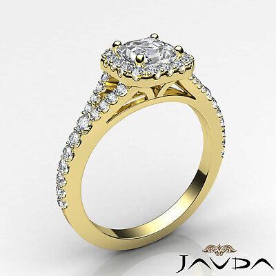 Asscher Shape Diamond Engagement GIA H VS2 18k White Gold Halo Pave Set Ring 1Ct 1