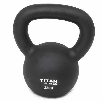 Cast Iron Kettlebell Weight 25 Lbs Natural Solid Titan Fitness Workout Swing