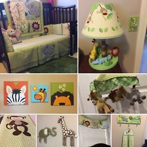 Quality 20 piece crib bedding set with matching room decorations