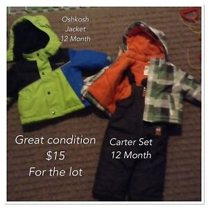 12 Month boys winter clothing $15