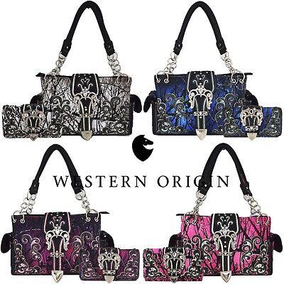 Camouflage Buckle Western Concealed Carry Purse Women Country Handbag Wallet Set Camouflage Canvas Shoulder Bag