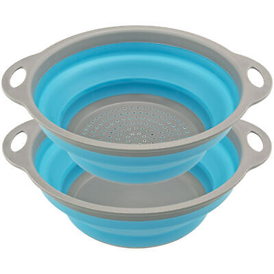 Collapsible Strainer / Collander and Bowl Set for Easy Compact Storage Blue Grey Colanders, Strainers & Sifters