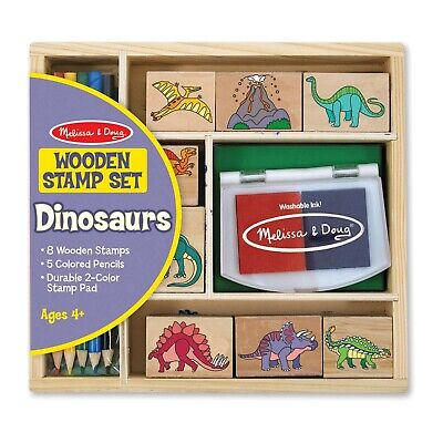 Melissa & Doug Wooden Stamp : Dinosaurs - 8 Stamps,5 Colored Pencils,2 Stamp Pad