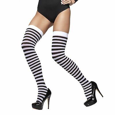 Damen Strümpfe Schwarz und Weiß Halloween Kostüm Zubehör Halterlos Hexe