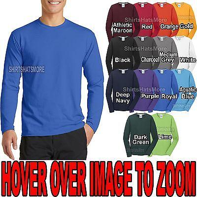 Sleeve Moisture Wicking T-shirt - Mens Moisture Wicking Long Sleeve T-Shirt Soft Poly/Cotton Tee S-XL 2X, 3XL, 4XL