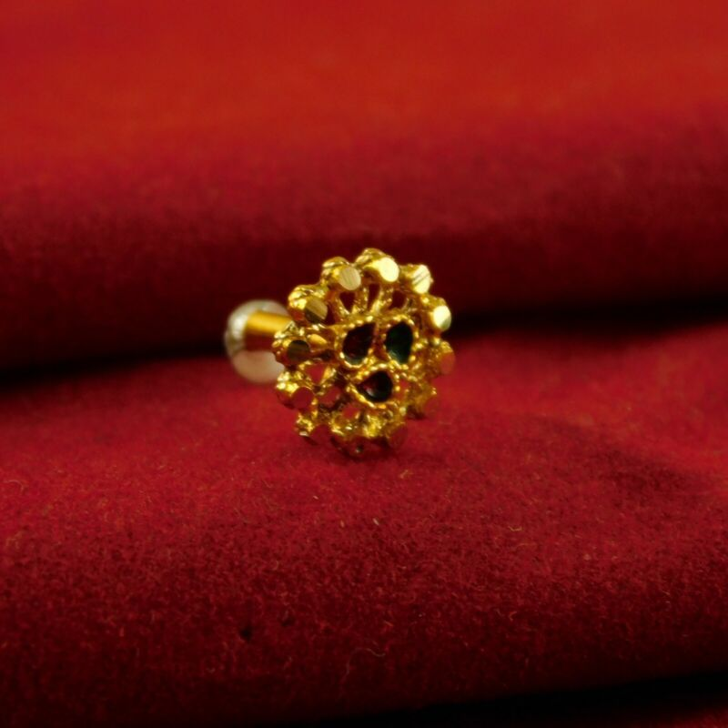 Traditional Nose Stud 18K Goldplated Indian Nose Ring Nath Fashion Jewellery
